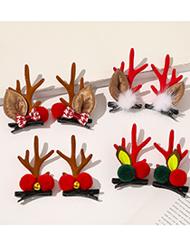 Fashion Antlers Red Christmas Antler Hair Ball Bow Tie Contrast Color Hairpin