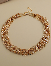 Fashion Gold Color Alloy Chain Multilayer Necklace  Alloy