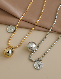 Fashion Gold+silver Color Resin Rice Bead Head Double Necklace  Resin