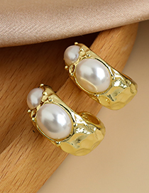 Fashion Gold Color Alloy Geometric Pearl Earrings  Alloy