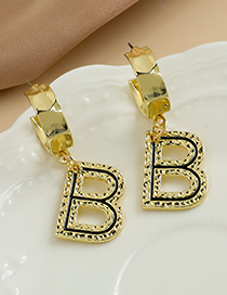 Fashion Gold Color Alloy Hollow Letter Earrings  Alloy