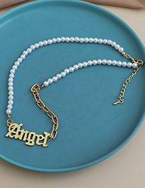 Fashion Gold Color Alloy Pearl Letter Necklace  Alloy