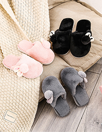 Fashion Baotou Hair Ball Powder Plush Non-slip Baotou Bunny Children S Cotton Slippers