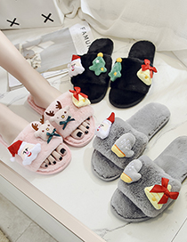 Fashion Black Santa Claus Plush Flat-bottomed Children S Slippers