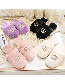 Fashion White Wrapped Toe Plush Non-slip Soft-soled Crown Slippers