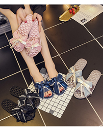 Fashion Powder Bowknot Slip-on Slippers
