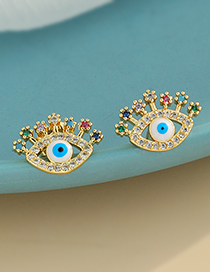 Fashion Golden Copper Inlaid Zircon Eye Stud Earrings