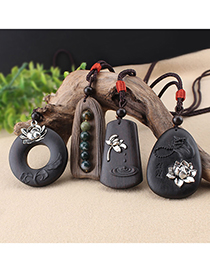 Fashion Lotus Circle Ebony Ebony Lotus Agate Pendant Cotton Linen Buddha Necklace