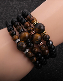 Fashion White Gold Jewelry Tiger Eye Stone Bright Stone Diamond Ball Men S Bracelet