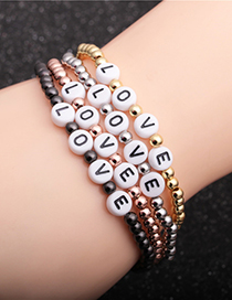 Fashion Grab The Black Copper Beads 4mm Copper Beads Letter Elastic Bracelet