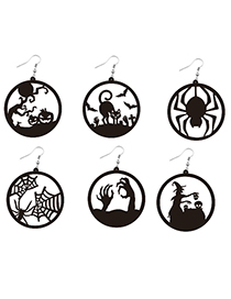 Fashion Witch Scary Spider Pumpkin Witch Black Cat Round Acrylic Halloween Earrings