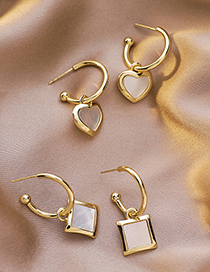 Fashion Square Section Heart Cube Shell Stud Earrings