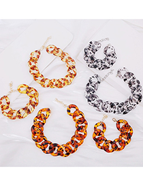 Fashion 8 Bracelet Yellow Brown Leopard Print Acrylic Thick Chain Alloy Necklace Bracelet