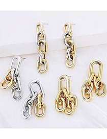 Fashion 4 Gold And Silver Alloy Thick Chain Geometric Earrings