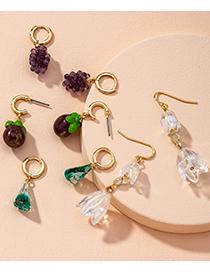 Fashion Green Grapes Fruit Irregular Crystal Beaded Alloy Earrings