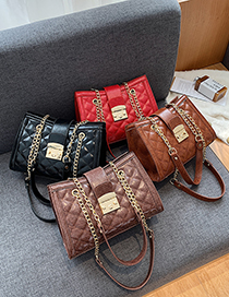 Fashion Brown Large-capacity Chain Lock One-shoulder Messenger Bag