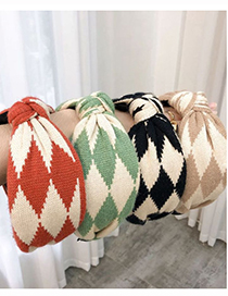 Fashion Beige Contrasting Color Stitching Geometric Pattern Wool Wide Version Knotted Headband