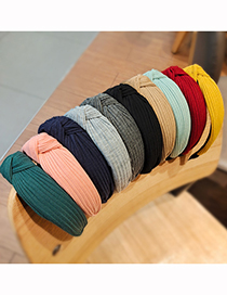 Fashion Ginger Pure Color Striped Knitted Headband With Knotted Yarn In The Middle