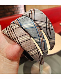 Fashion Light Brown Wide Brim Plaid Pu Leather Headband