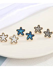 Fashion Silver Color Starfish Resin Alloy Earrings