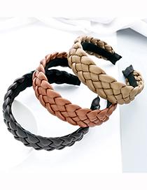 Fashion Black Pu Leather Braid Headband Wide Version Pu Leather Twist Braid Headband