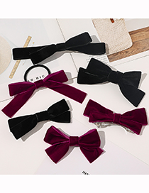 Fashion Woven Tie Hair Rope-wine Red Bowknot Ribbon Flannel Alloy Hairpin Hair Rope