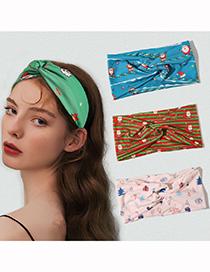 Fashion Christmas Hair Band-light Pink Christmas Snowman Print Cross Wide Brim Headband