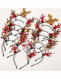 Fashion Christmas Antlers Headband-santa Claus Christmas Fur Ball Bells Elk Snowman Acrylic Headband