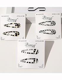Fashion Leopard Print Bb Clip Card Set-beige Leopard Zebra Pattern Alloy Hollow Hairpin