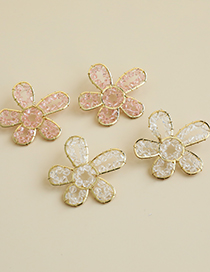 Fashion Pink Alloy Resin Transparent Beads Flowers