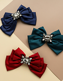 Fashion Red Fabric Diamond Drop Bow Tie Brooch