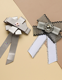 Fashion White Fabric Diamond Lace Bow Tie Brooch