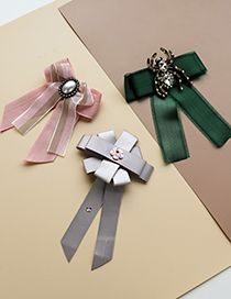 Fashion Pink Fabric Pearl Bow Light Bow Tie Brooch