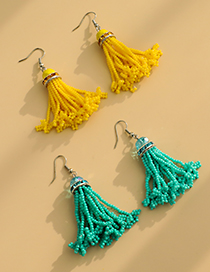 Fashion Yellow Rice Beads Tassel Crystal Earrings