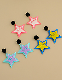 Fashion Purple Resin Letter Five-pointed Star Earrings
