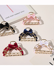 Fashion Navy Alloy Chain Bow Hollow Grip