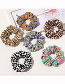 Fashion Black And White Houndstooth Yarn Color Matching Large Intestine Ring Hair Rope