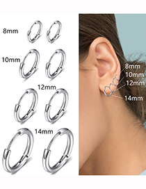 Fashion Gold-12mm Titanium Steel Stainless Steel Geometric Round Earrings