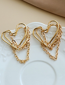 Fashion Gold Color Alloy Hollow Heart Chain Earrings