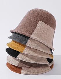Fashion Black Contrasting Color Wool Knitted Fisherman Hat