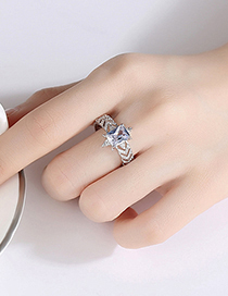 Fashion Platinum Copper Inlaid Zircon Hollow Geometric Open Ring
