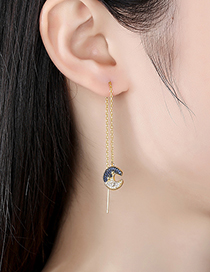 Fashion Gold Copper Inlaid Zircon Star And Moon Long Earrings