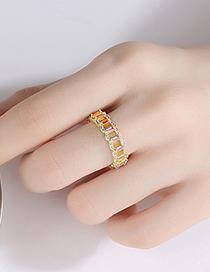 Fashion Platinum Copper Inlaid Zircon Geometric Hollow Ring