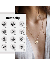 Fashion Rose Gold -219 Butterfly Hollow Stainless Steel Necklace (13mm)