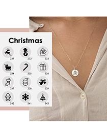 Fashion Rose Gold Color Snowman Christmas Snowman Elk Geometric Titanium Steel Pendant Necklace (13mm)