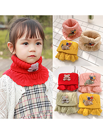 Fashion Cyan 2 Years Old -12 Years Old Woolen Knitted Bear Apple Childrens Neck Scarf