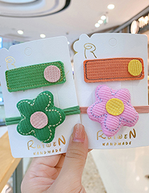 Fashion Yellow Flowers [2-piece Set] Flower Geometric Contrast Color Childrens Hair Rope Hairpin