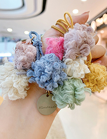 Fashion Beige Ball-hair Rope Ball Plush Contrast Color Alloy Hair Rope