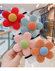 Fashion Watermelon Red Flowers-hair Rope Plush Flower Contrast Color Childrens Hair Rope
