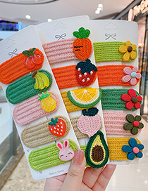 Fashion Little Girl Series [5 Piece Set] Fruit Wool Knitting Contrast Color Geometric Children Hairpin